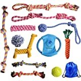 Dog Rope Toys for Aggressive Chewers - Puppy Toys Durable Dog Chew Toys Kit 12pcs a set-100% Natural Cotton Dog Rope Toy for