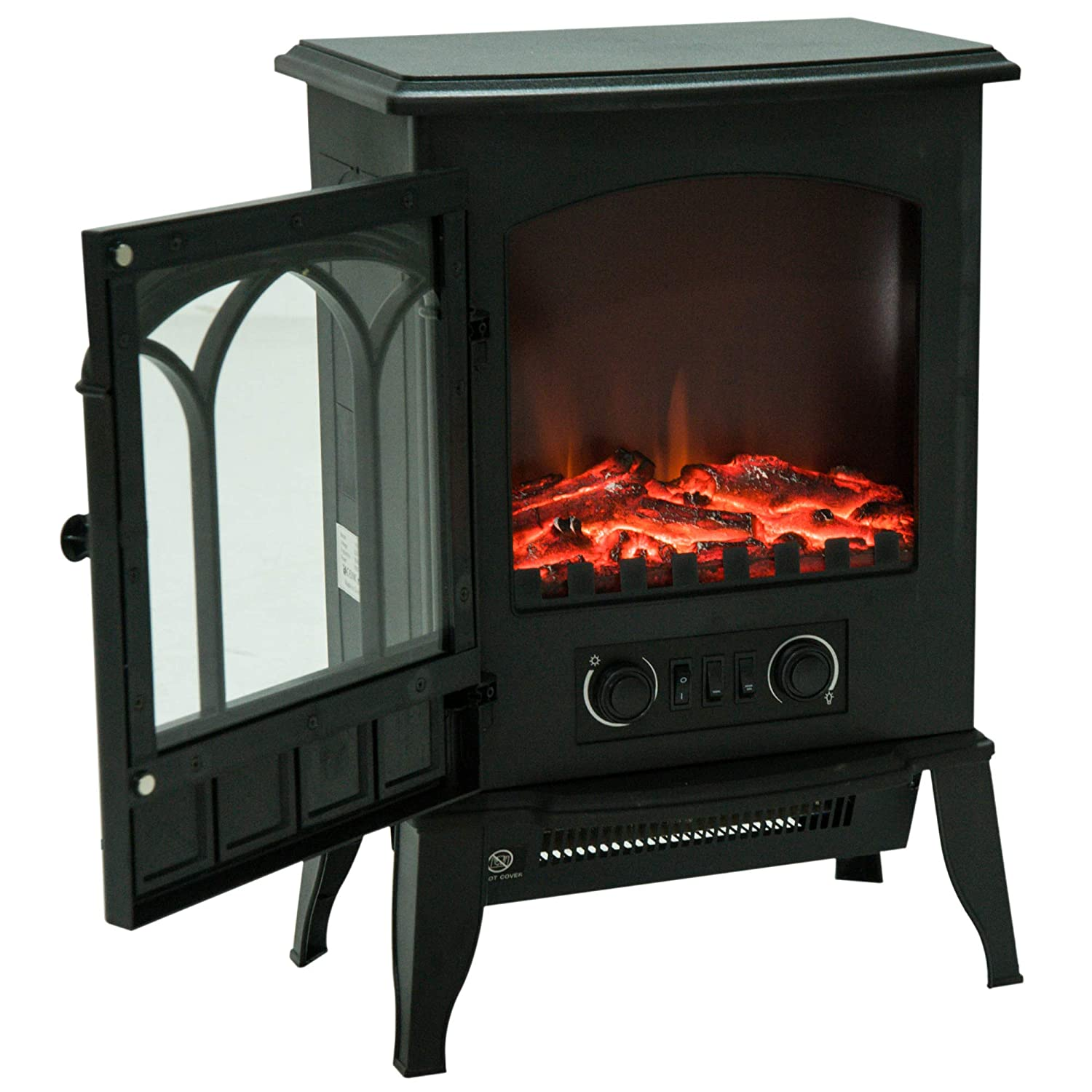 HOMCOM Freestanding Electric Fireplace Heater with LED Flame Effect Remote Control 1000W/2000W Sold by MHSTAR