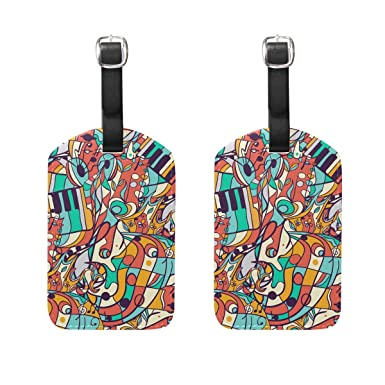 Amazon com | IMOBABY Colored Music Symbols Luggage Tags PU