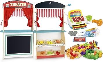 Leomark Juguete de Madera para Niños, Teatro y Mercado, 2 en 1, con Cuatro Marionetas y Gran Conjunto de Productos Alimenticios, con Caja Registradora y Escáner de Código: Amazon.es: Juguetes y juegos
