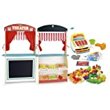 4 in 1 SET Wooden theater and shop (two side) with wooden grocery products + Cash register with a calculator and barcode scanner + Food set 46 pcs.