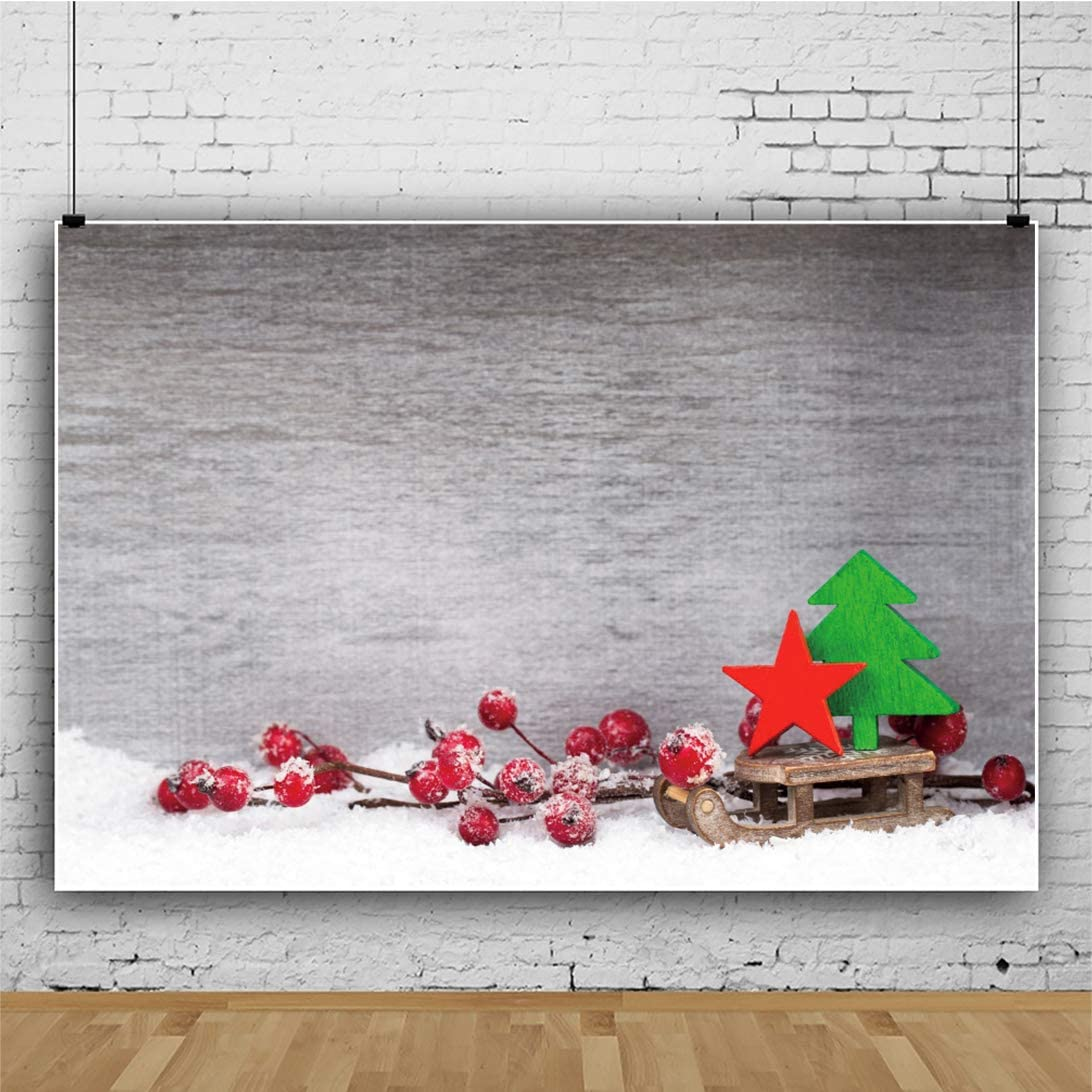 Leowefowa Rustic Abstract Wall Snowy Red Berries Xmas Tree Red Star Sled Backdrop for Photography 10x8ft Christmas Background Christmas Party Banner Child Baby Photo Shoot Studio Props Wallpaper