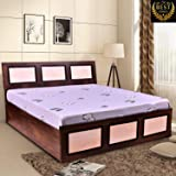 Queen Size Bed - by ComfyBean - Crescent Bed - Engineered Wood - Bed with Headboard - with Storage (Woodpore Laminate Finish - BD02)