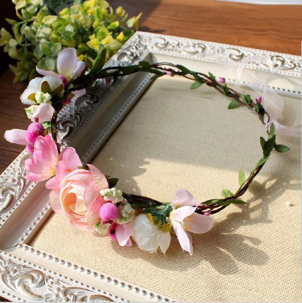 Women White & Pink Bridal Handmade Flower Crown with Adjustable Ribbon Wedding Festivals Floral Wreath Headband Floral Garland