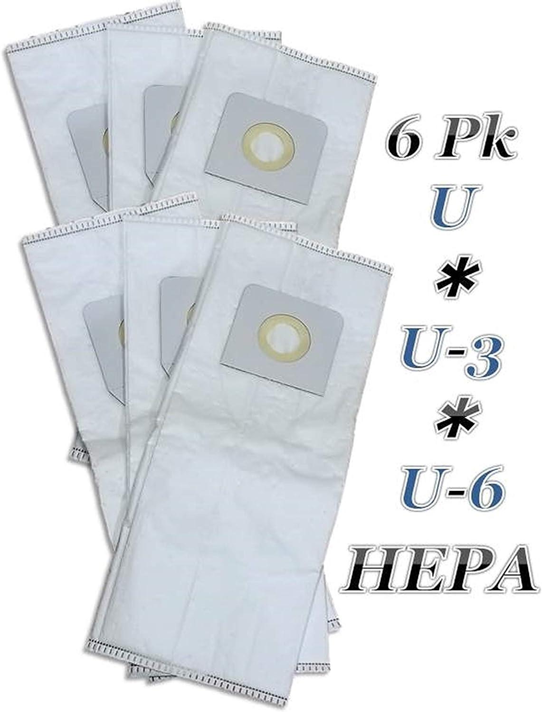 WW Casa Vacuums Hepa 6 PK Replacement for Panasonic Type U, U-3, U-6 Upright Vacuum Cleaner Bags