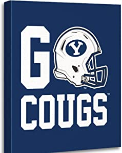 Dybsm Canvas Print Wall Art Wooden Framed 12x16 Inches BYU Go Cougs Home Artwork Living Room Bedroom Office Decor Prints Easy to Hang
