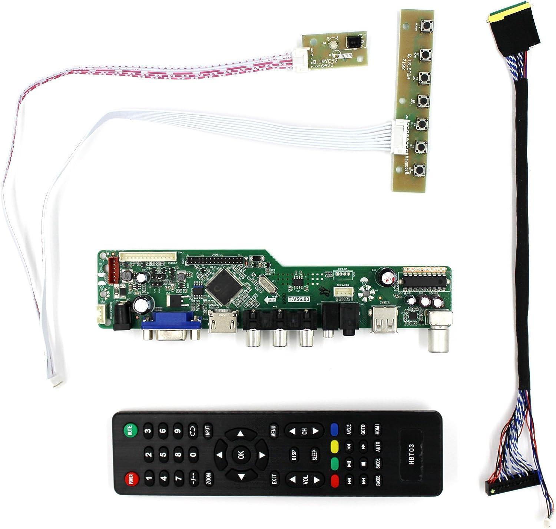 HDMI + VGA + AV + tarjeta del regulador del LCD de la entrada de USB + RF para B156HW01 LP173WF1 15.6 17.3 1920x1080 40Pins Panel del LCD: Amazon.es: Electrónica