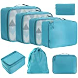 BAGAIL 8 Set Packing Cubes, Lightweight Travel Luggage Organizers with Shoe Bag, Toiletry Bag & Laundry Bag Teal