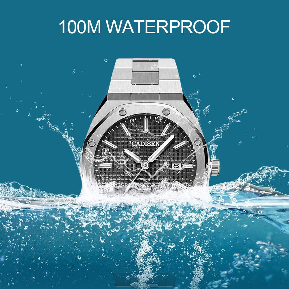 Cadisen herr Octagon automatiska klockor för män 100 m vattentät helt rostfritt stål ett stycke armband sportklocka Silversvart