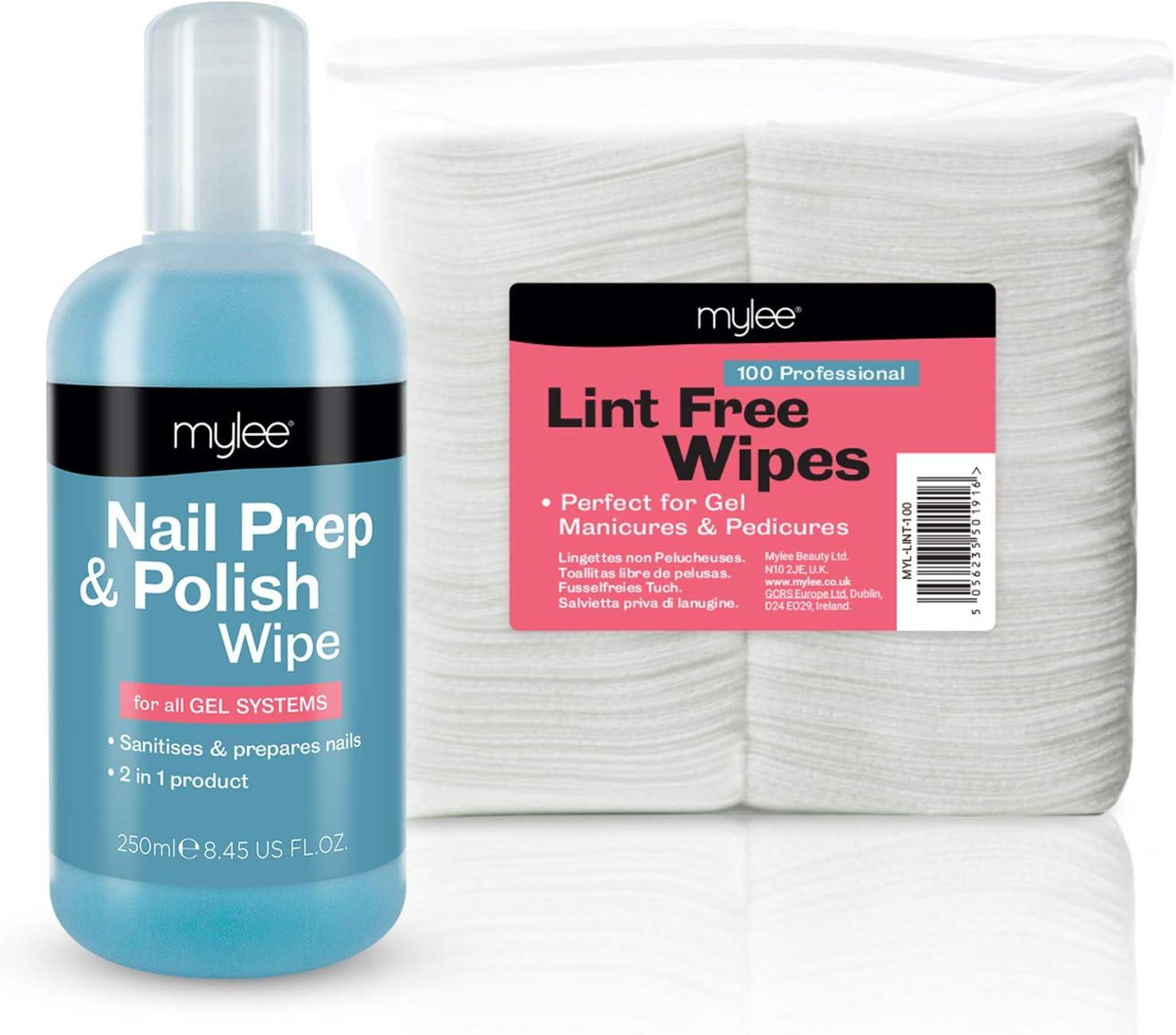 Mylee Kit Gel Limpiador de Residuos Prep & Wipe 250ml + 100 ...