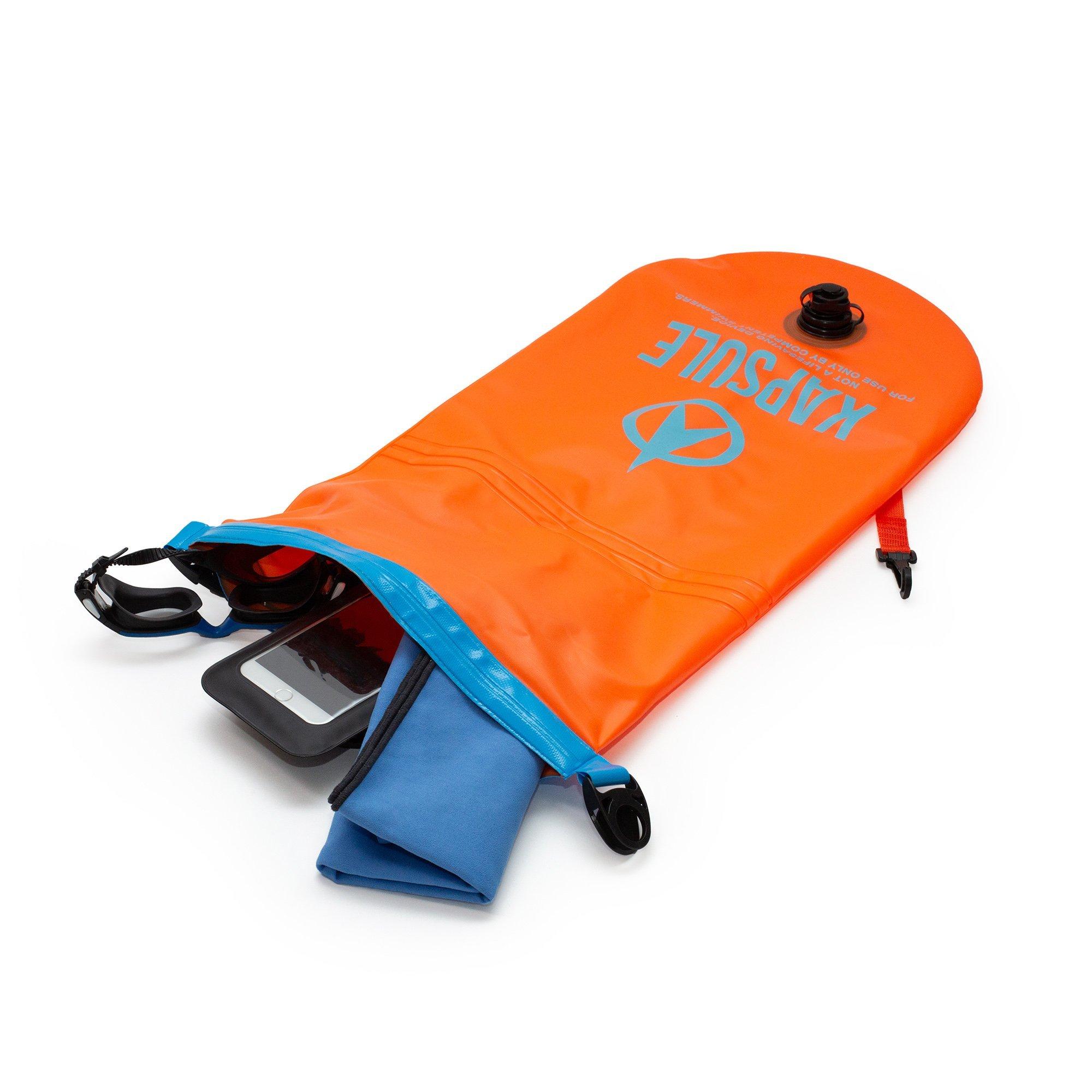 KAPSULE Swim Buoy (NEON 20L Orange) - Personal Swimming Float and Dry Bag by KAPSULE (Image #6)