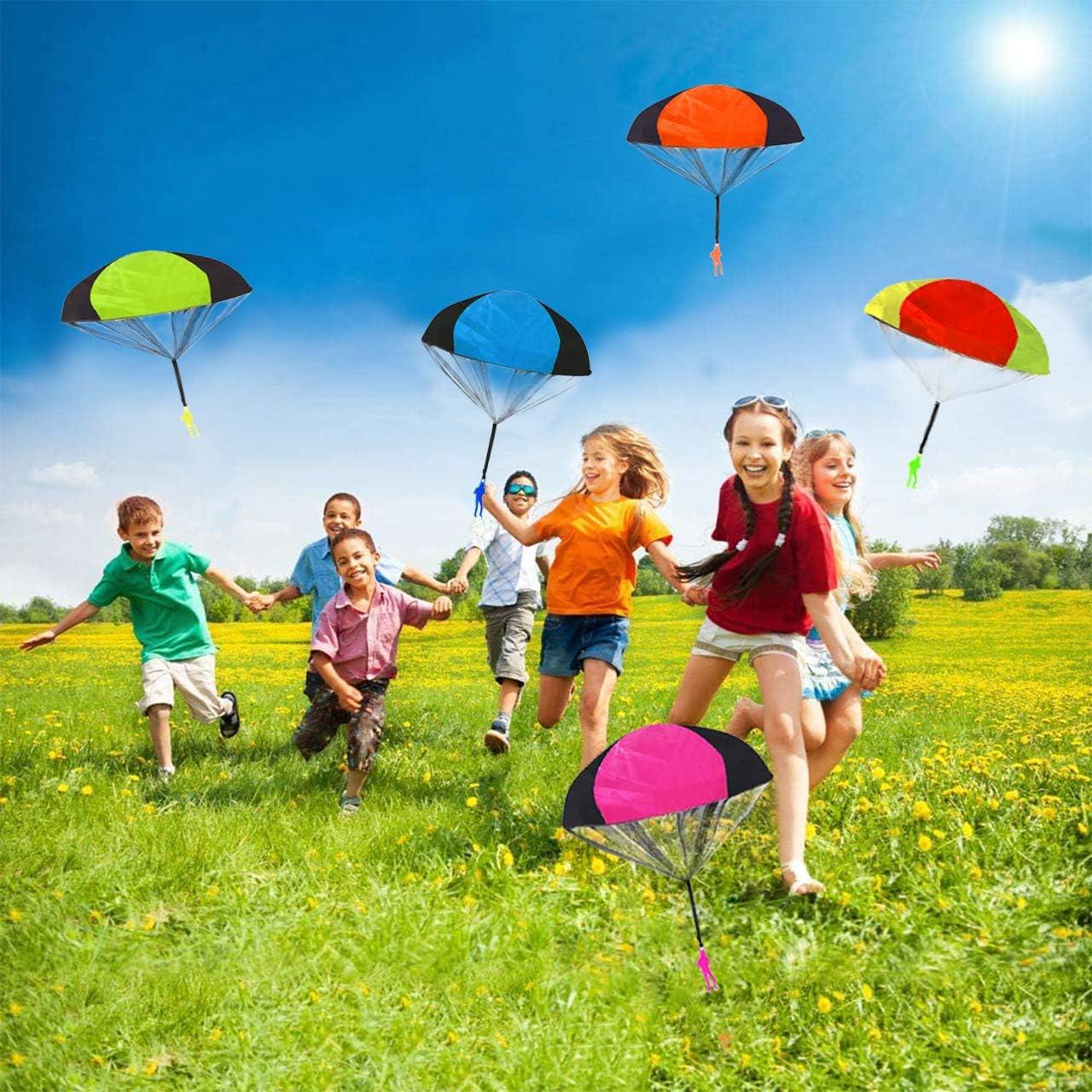 Outdoor Spielzeug Spiele Gro/ße Geschenke f/ür Kinder aovowog Fallschirm Spielzeug Kinder,10 St/ück Garten Spielzeug Fallschirmspringer Hand werfen f/ür Kinder