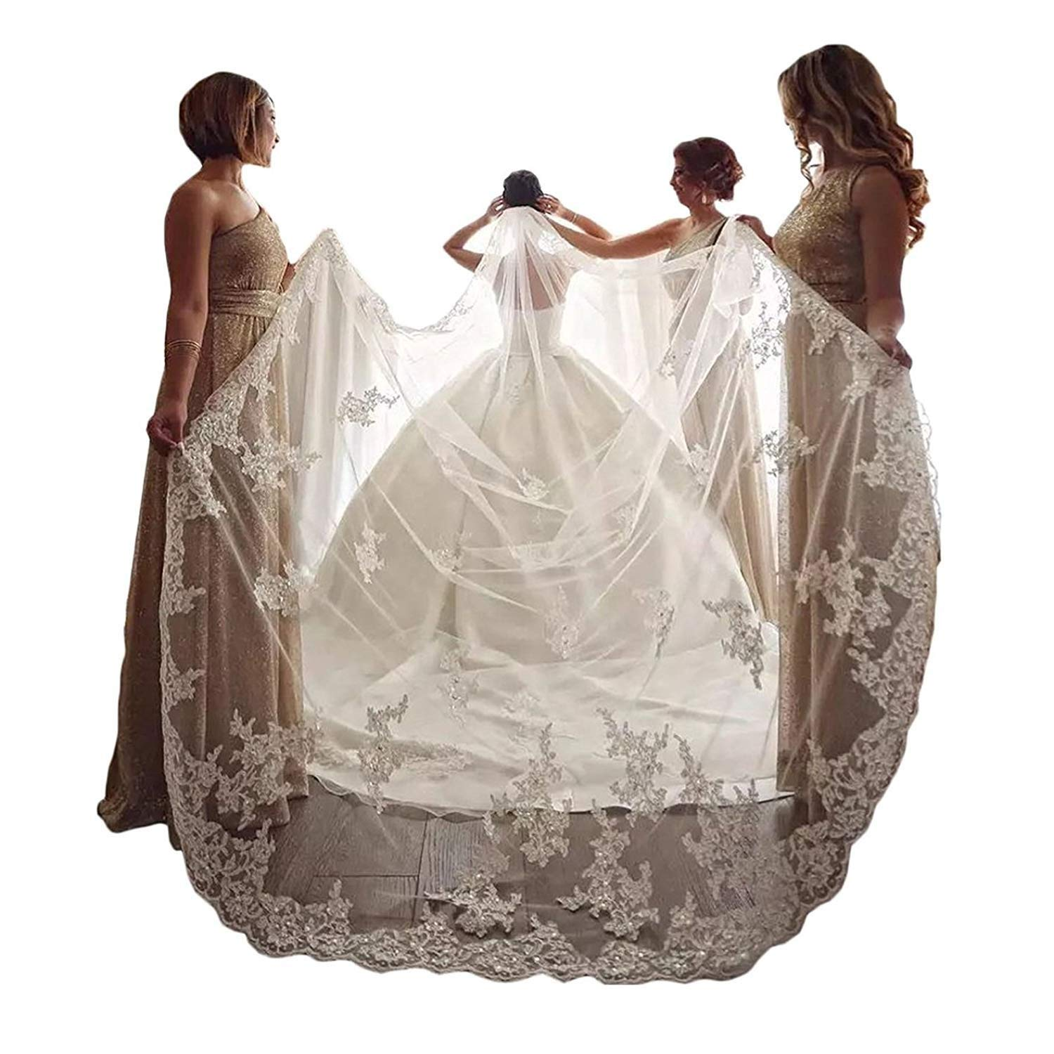 EllieHouse Women's Embroidery Lace Ivory Wedding Bridal Veil With Comb S60IV
