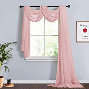 RYB HOME Canopy Bed Curtains for Kids Room Dreamy Long Sheer Valances Window Scarfs for Wedding Baby Shower Birthday Party French Door Decor, 60 x 216 in per Panel, 1 Pair, Pink