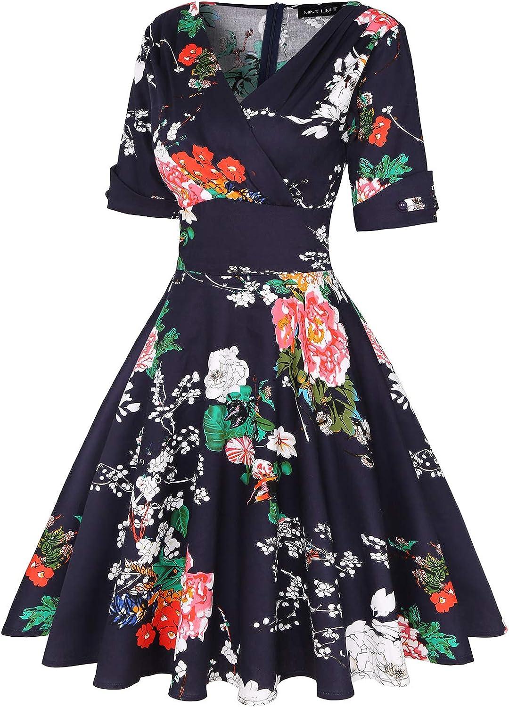 MINTLIMIT Women's 1950s Vintage Deep V-Neck Half Sleeve Retro Cocktail Swing Dress Floral Navy Blue #1