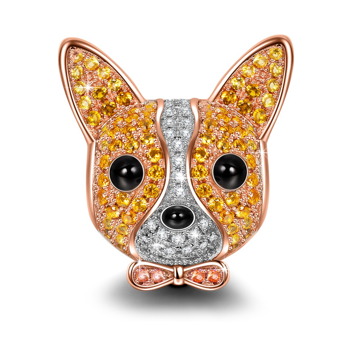 NINAQUEEN Chihuahua Bolt 925 Sterling Silver Charm Rose-Gold Plated Puppy Dog Charms ♥Happy Family♥Animal Bead with 5A Cubic Zirconias