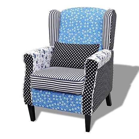 vidaXL Sillón de Salón Diseño Retales Patchwork Estampado Azul Blanco Asiento