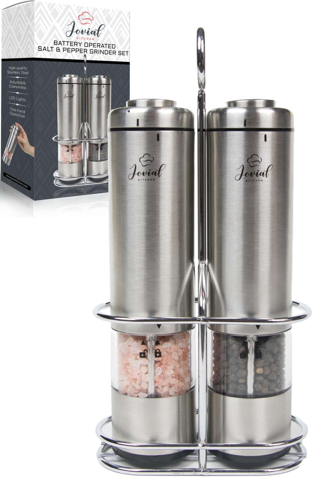Jovial Kitchen Battery Operated Salt and Pepper Grinder Set - Electric Stainless Steel Salt&Pepper Mills(2) - Tall Power Shakers with Stand - Ceramic Grinders with LED lights and Adjustable Coarseness
