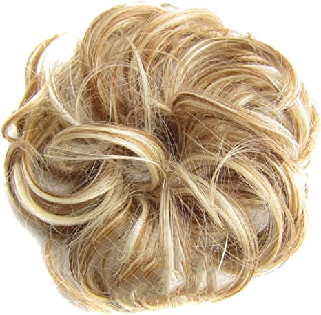 Chezaa Hair Bun Extensions Curly Wavy Updo Messy Hairpieces Elastics Donut Chignons Wig Rings Blonde Scrunchie Hair Circle for Women Girls Wedding