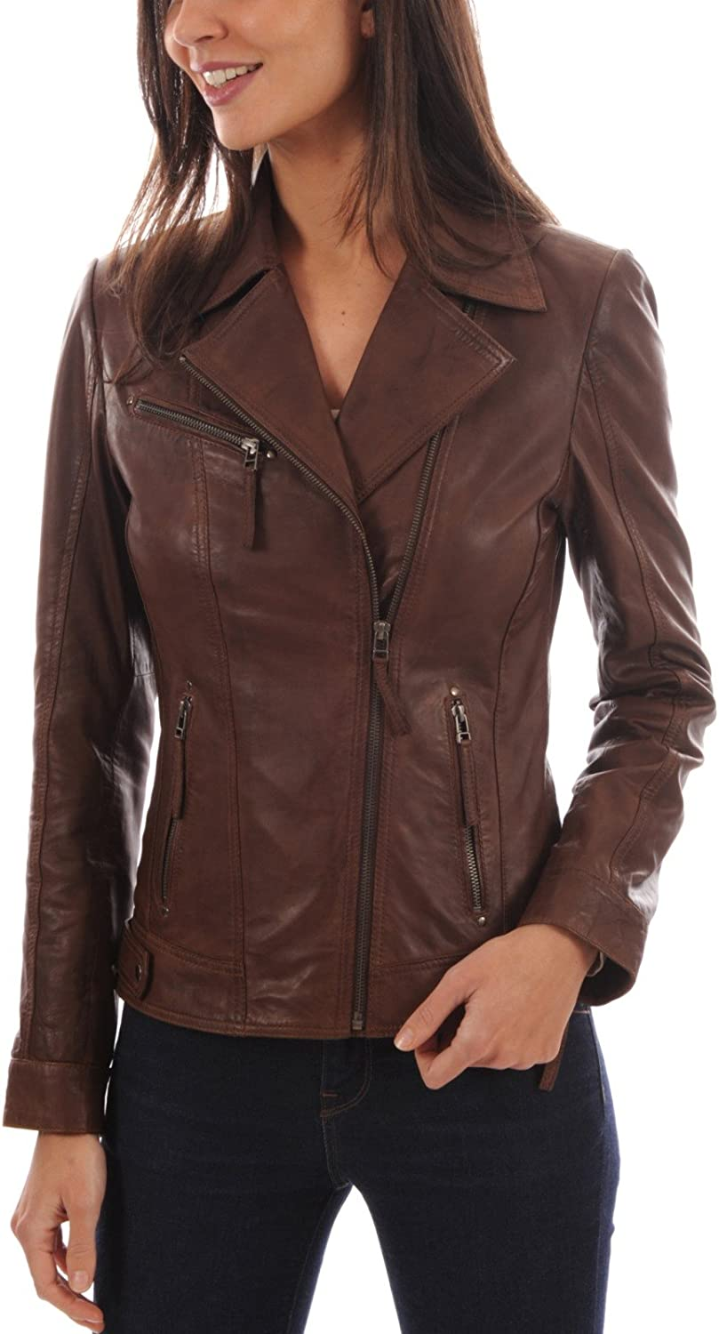 Authentic Leather Womens Lambskin Leather Motorcycle Biker Leather Jacket