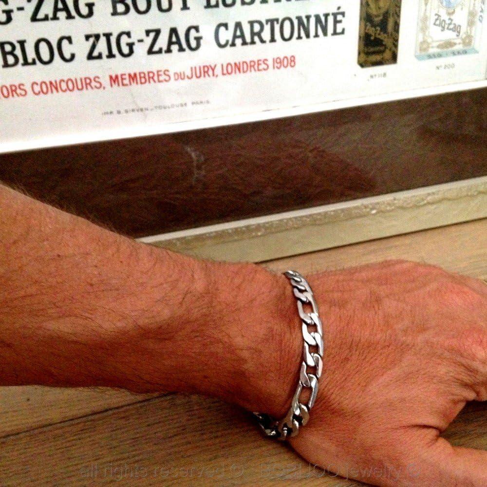 BOBIJOO Jewelry Bracelet Gourmette Homme Mailles Plates Figaro Acier Inoxydable 316L Argent/é 20cm
