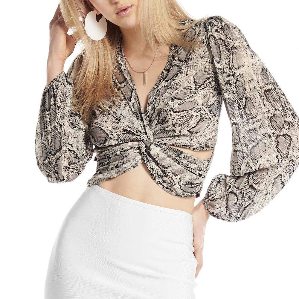 Grey Gracia Python Twisted Front Crop Top