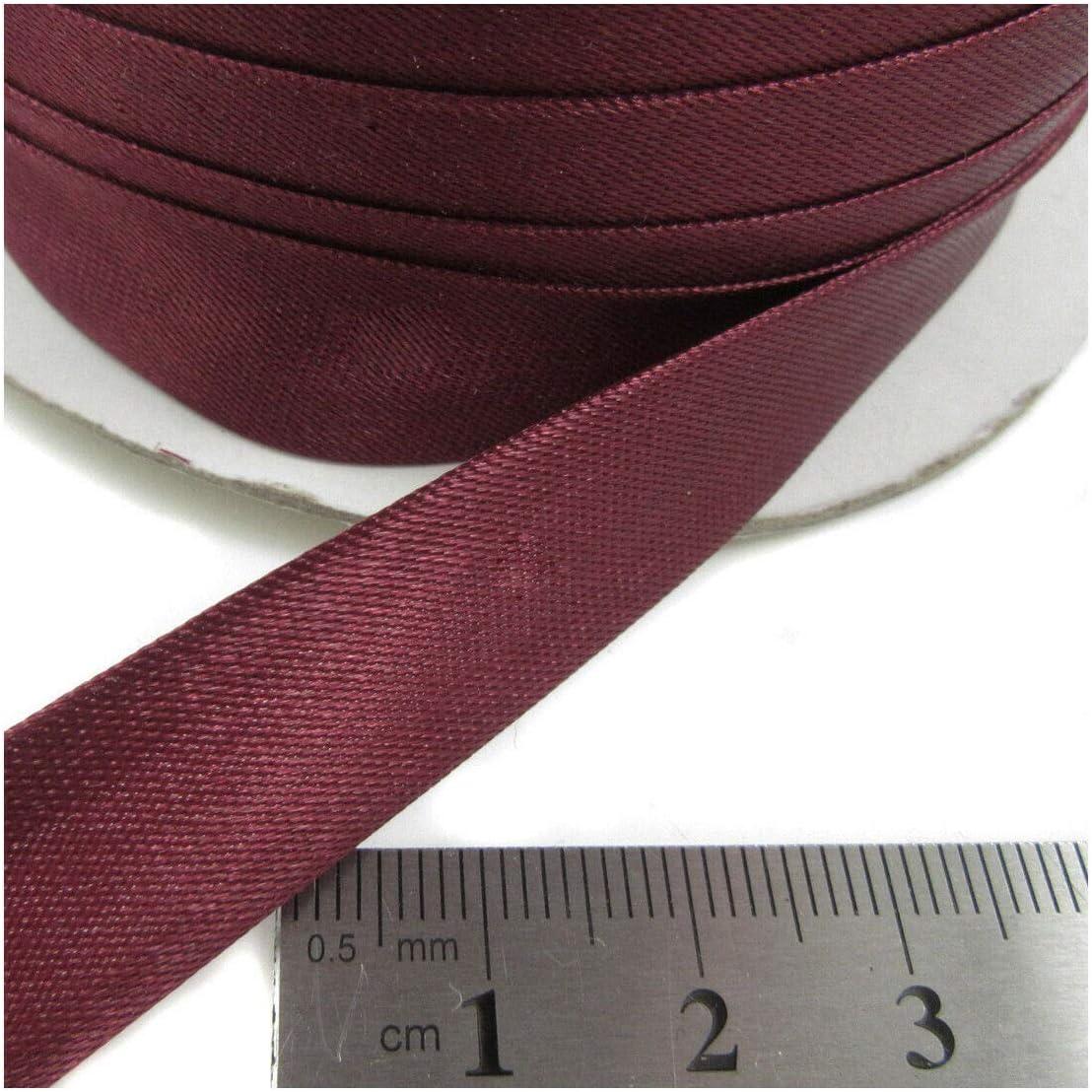 Burgundy 15mm Satin Mix BIAS Binding Colours 3m Folded Trimming Edging