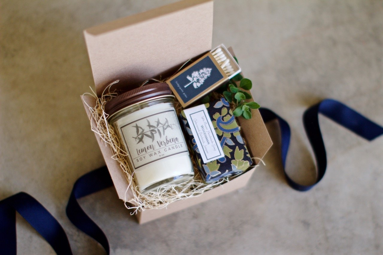 Soy Wax Lemon Verbena Candle gift set with Soap and Botanical Matchbook