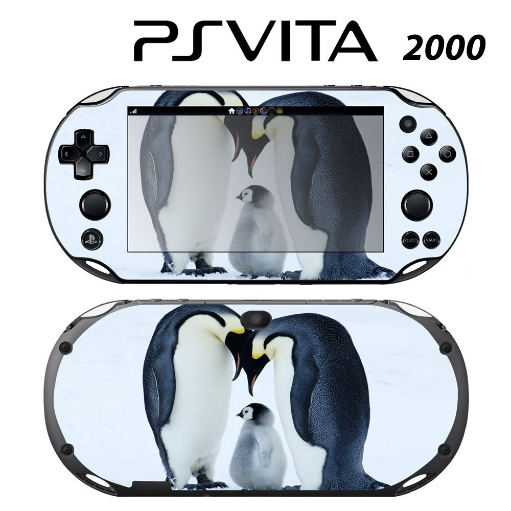 Decorative Video Game Skin Decal Cover Sticker for Sony PlayStation PS Vita Slim (PCH-2000) - Sweet Baby Penguin with Parents