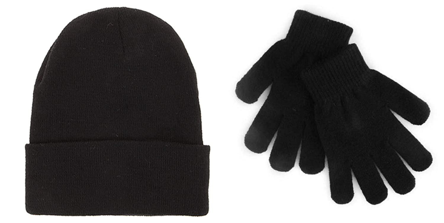 Kids Thermal Black Magic Gloves and Beanie Hat Combo - Essential Winter Value Pack