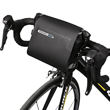 43d77ffb831 ROSWHEEL negro resistente al agua 3L bicicleta bolsa de manillar bolsa  bicicleta cabeza ajustable bolsa sillín ...