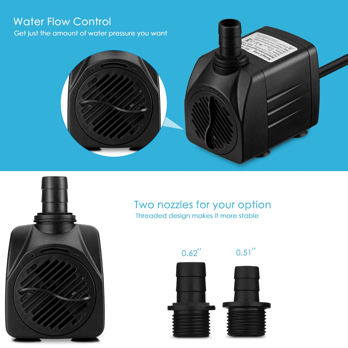 Amazon.com: Homasy 400GPH Submersible Pump 25W Fountain Water Pump ...