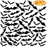 3D Bats Halloween Wall Decals 60 PCS Halloween Window Decoration 4 Sizes Scary Bats Halloween Wall Stickers Party Supplies