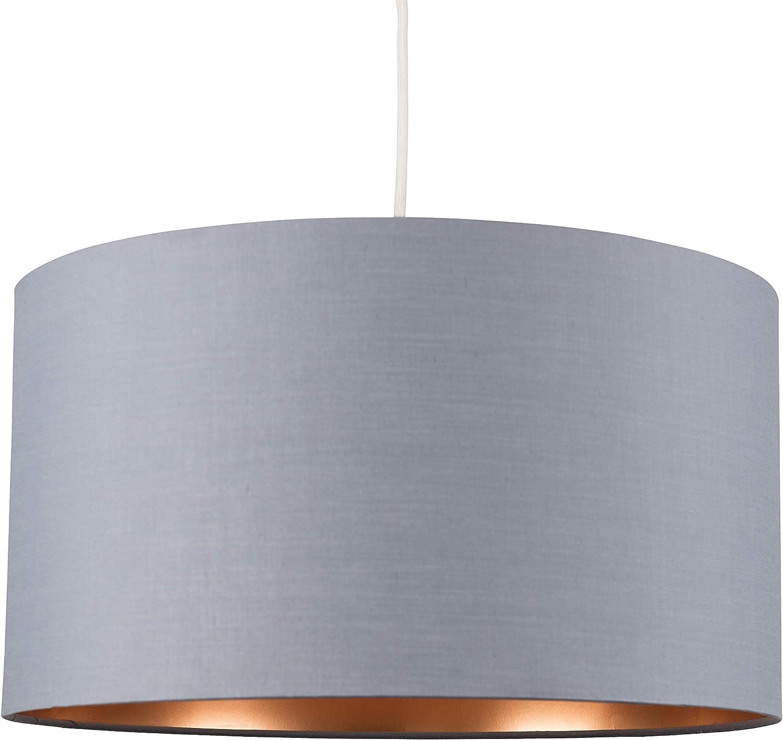 Minisun Extra Large Modern Grey Copper Cylinder Ceiling Pendant Table Lamp Drum Light Shade Amazon Co Uk Lighting