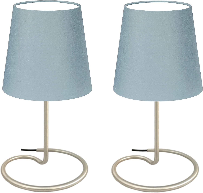 Trango 2 pacchi Lampada da tavolo lampada da comodino altezza: 325 mm lampada TG2018-25BBROWN con paralume in tessuto marrone /Ø 170mm