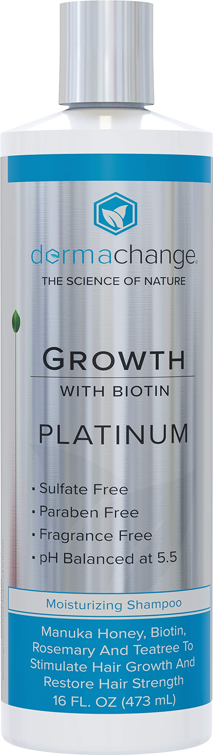 Platinum Hair Growth Moisturizing Shampoo - With Argan Oil, Biotin & Tea Tree Extract - Supports Hair Regrowth - Hair Loss Treatments (16 oz) - Made in USA by DermaChange
