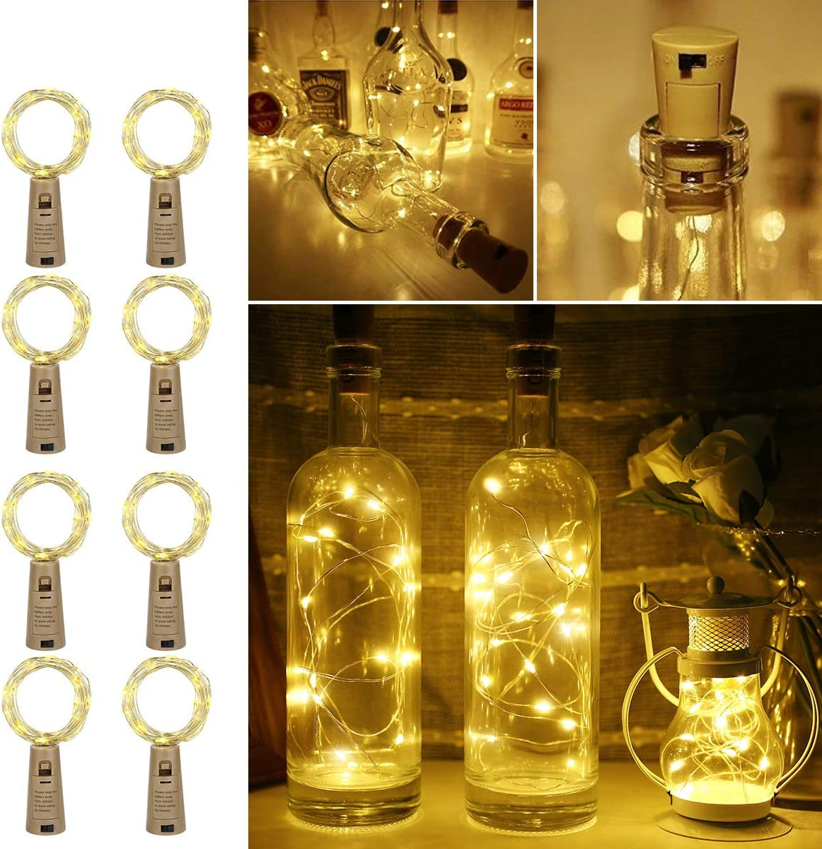 LE 2m 20 LED Luces de Botella de Vino Cobre con Corcho, Pack de 8, a Pilas, Guirnaldas Luces LED Blanco Cálido, Decorativas para Romántico Boda, Navidad, Fiesta, Hogar, Exterior, Jardín