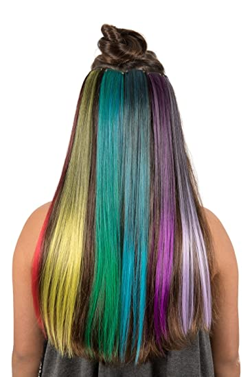 Amazon hidden rainbow hair 6 pieces clip on hair extensions hidden rainbow hair 6 pieces clip on hair extensions ombre 20 inch long bright colors set pmusecretfo Choice Image