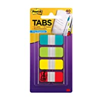Post-it Tabs.625 in. Solid, Aqua, Lime, Yellow, Red, Durable, Writable, Repositionable...