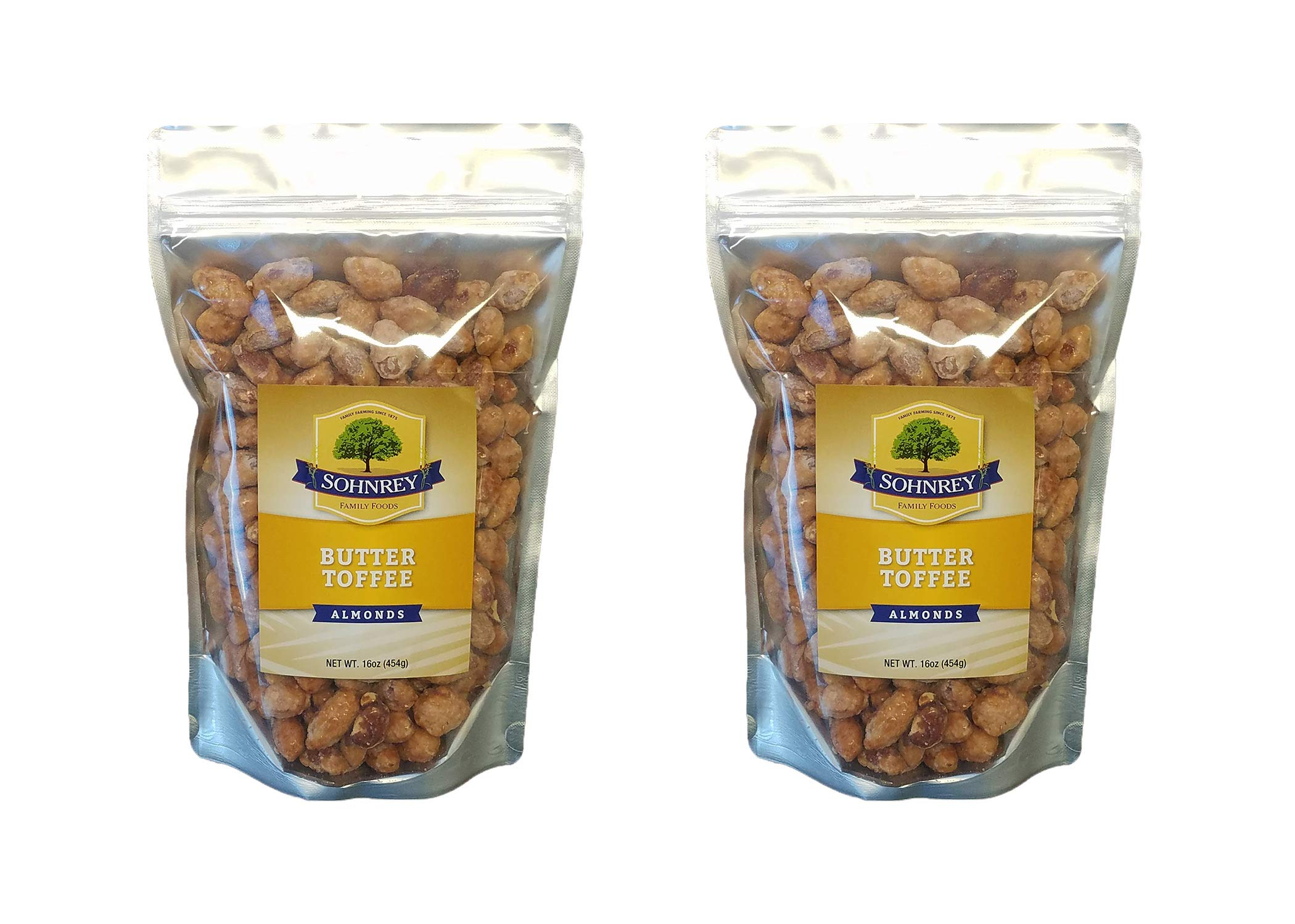Butter Toffee Almonds Fresh Gourmet Sweet and Salty Crunch (16 oz) Resealable Bag from Sohnrey Family Foods (2-Pack (32 oz))
