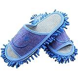 Moolecole De Los Hombres Microfibra Limpieza De Piso De La Casa Zapatillas Fregona Zapatos De Remanentes Desmontables Herramienta De Limpieza Azul