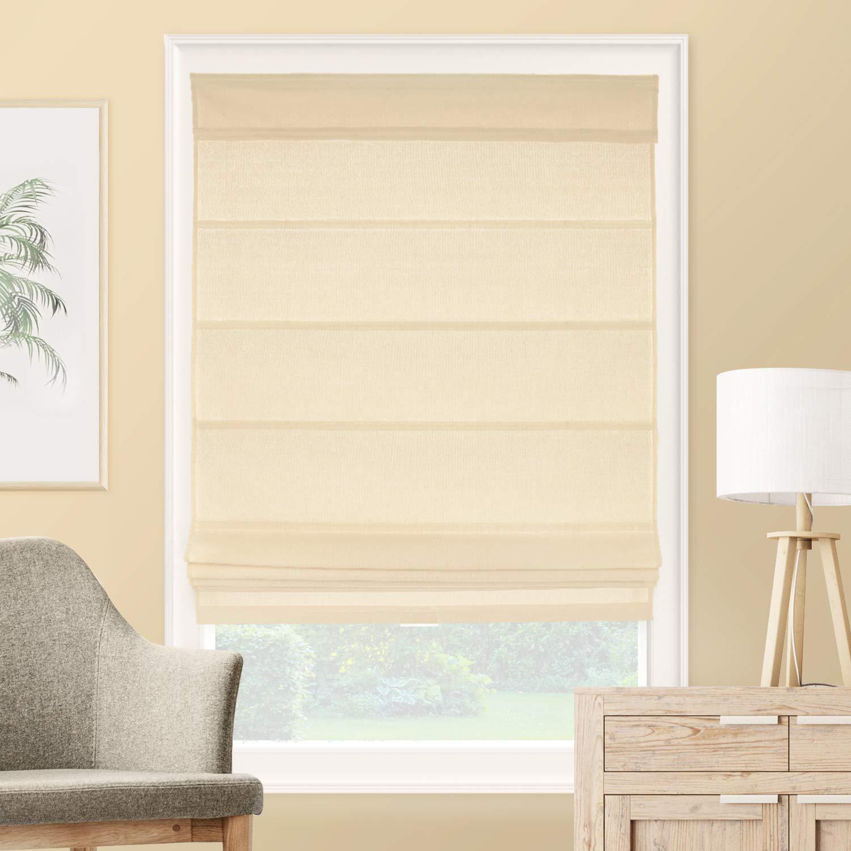 CHICOLOGY Roman Shades Rustic 100% Cotton Cascade Window Treatment, 34'' W X 64'' H, La Playa Sand (Cordless) by CHICOLOGY
