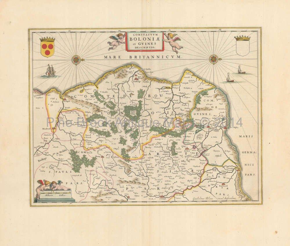 Amazon.com: Calais Boulogne France Vintage Map Blaeu 1650 Original on