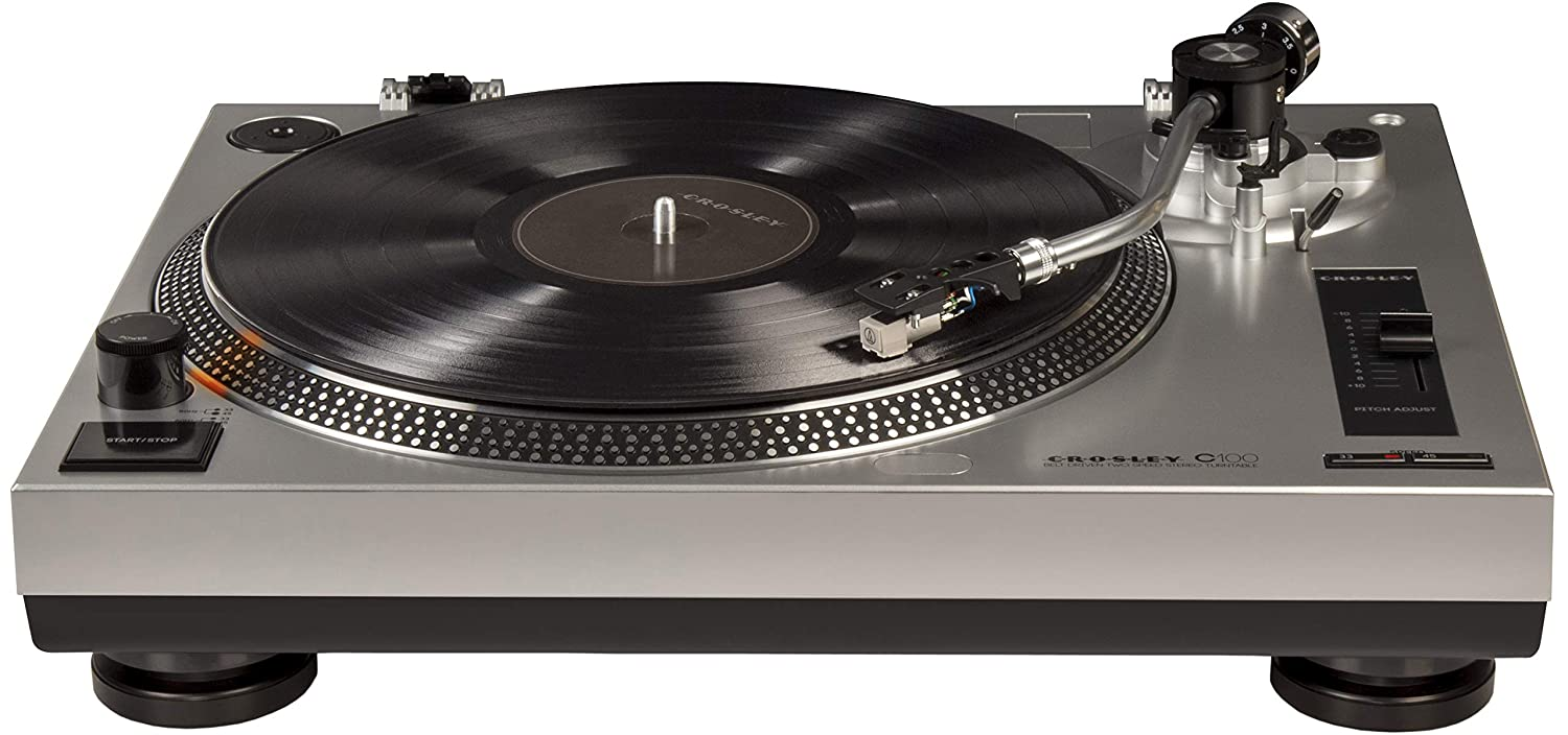 Crosley C100A-SI Turntable with S-Shaped Tone Arm with Adjustable Counterweight, Silver