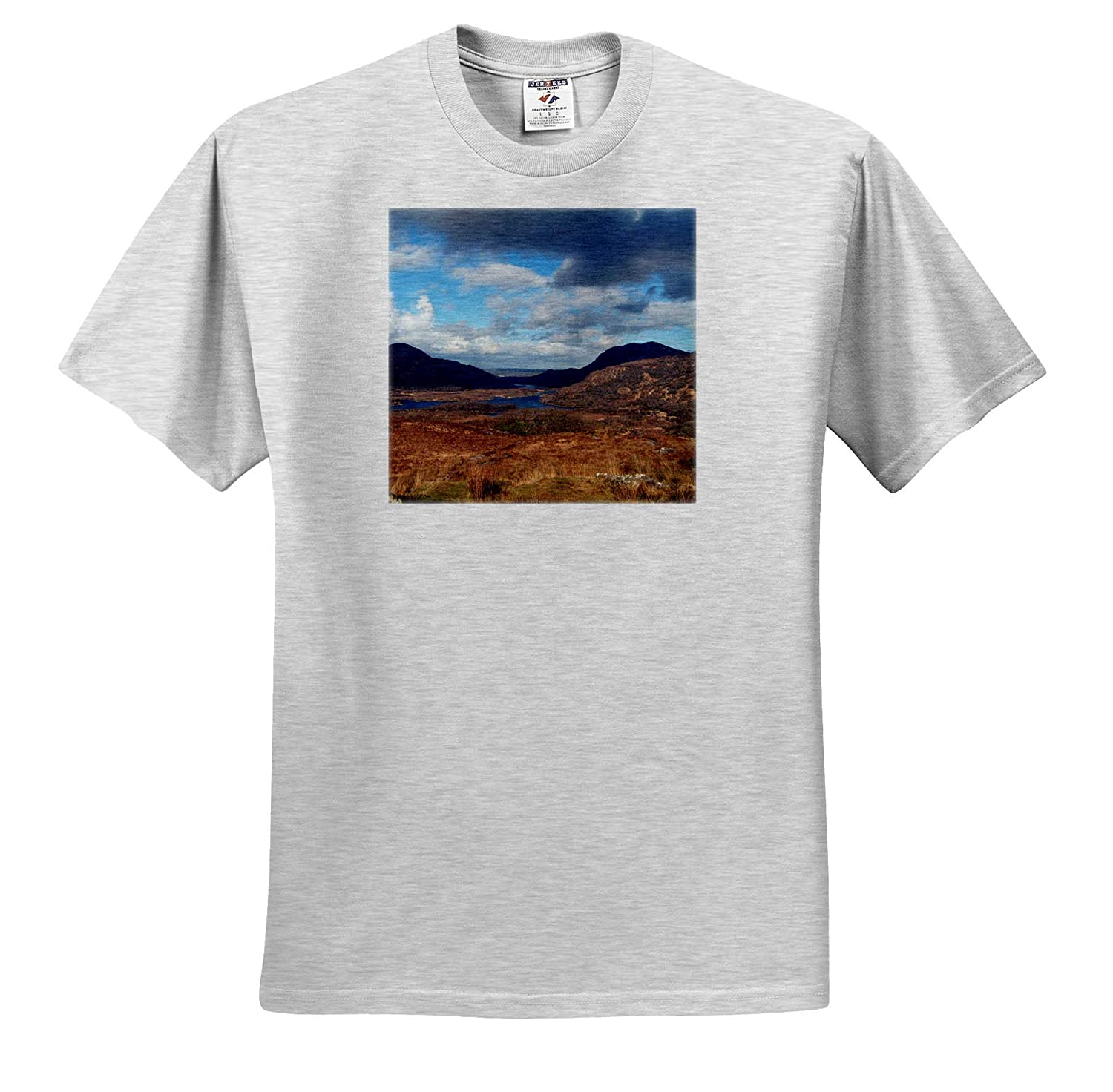3dRose Jos Fauxtographee T-Shirts A hilly Ireland Landscape with Blues and tans Ireland Landscape