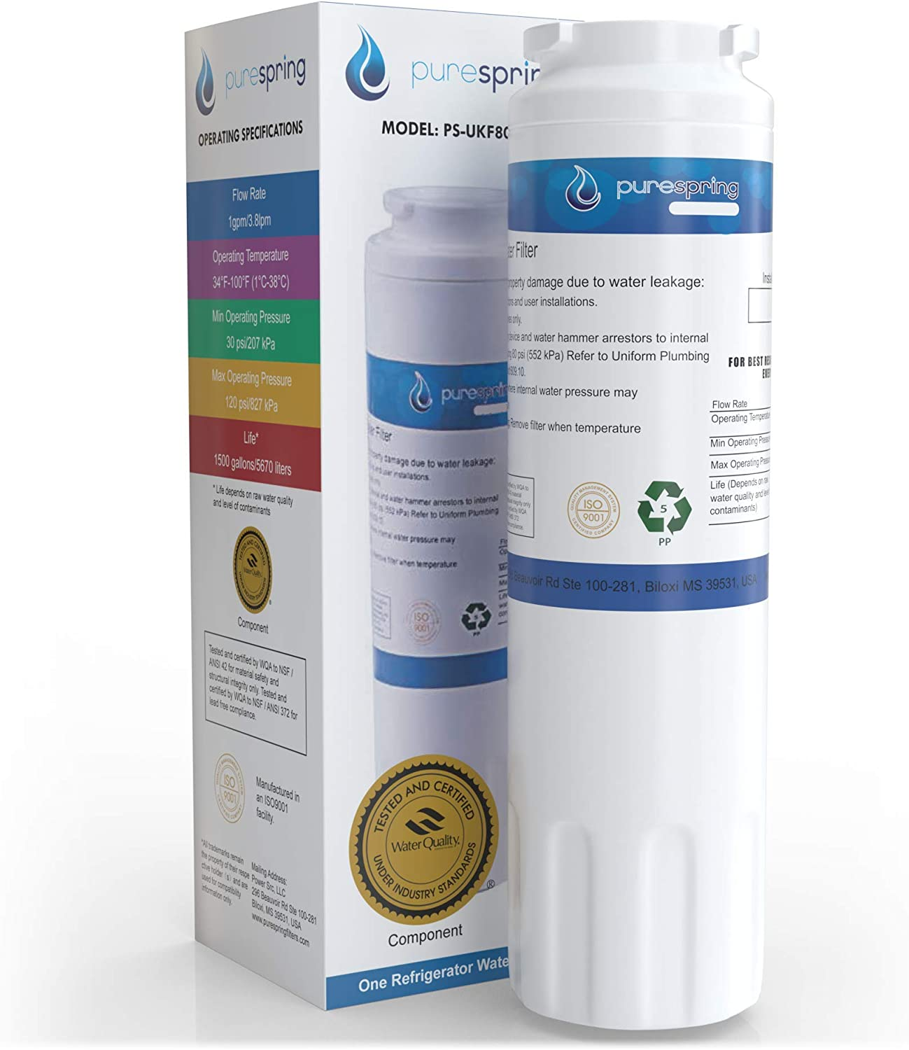 PureSpring NSF 42 Certified Refrigerator Water Filter, Compatible with Viking RWFFR, Maytag UKF8001, KitchenAid 67003523, 4396395, Kenmore 46-9006, PUR Filter 4 & Many Others (1 Pack)