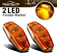 Partsam 2 Pcs LED Light 2 Diode Amber Universal Surface Mount Side Marker Trailer (Size: 2.53 x 1.06 x 0.71 inch)