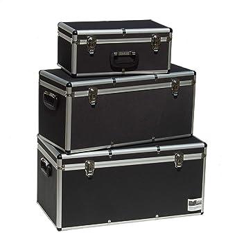Optik schwarz Aufbewahrungskoffer Transportkoffer Lagerbox Alubox L Alukoffer