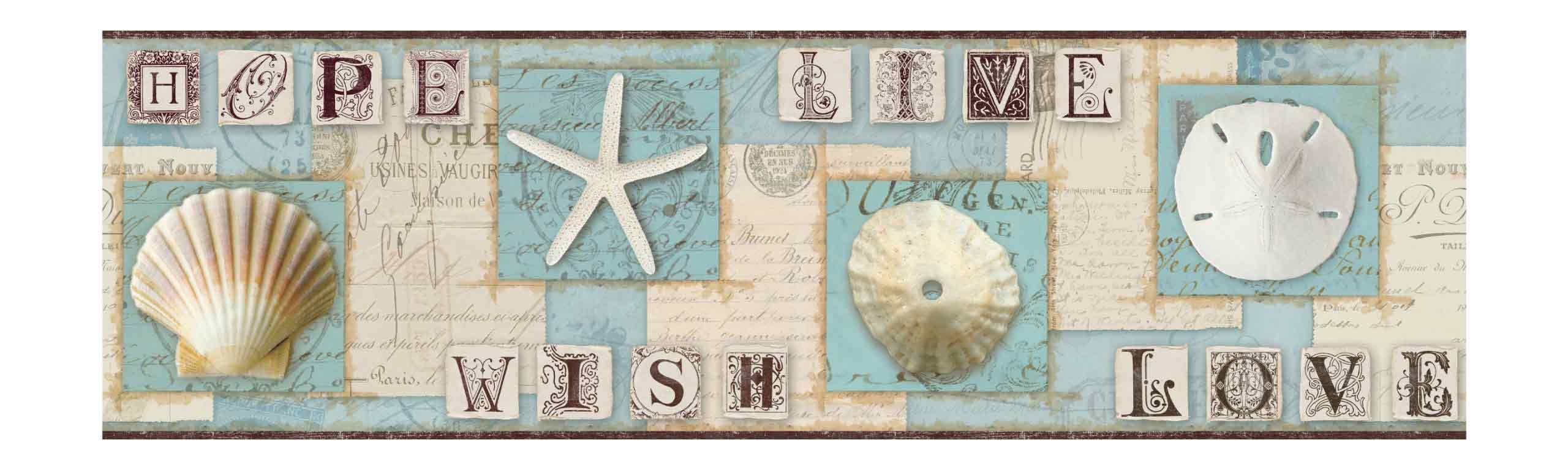 York Wallcoverings BG1641BD Seashell Wallpaper Border - Ultra Removable