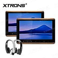 XTRONS 2 x 10.2 Inch Pair HD Digital TFT Screen Touch Panel HDMI Video Car Active Headrest DVD Player New Version IR Headphones(Black&White)